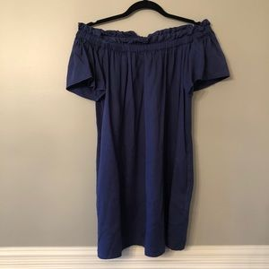 French Connection Navy Blue Off Shoulder Dress